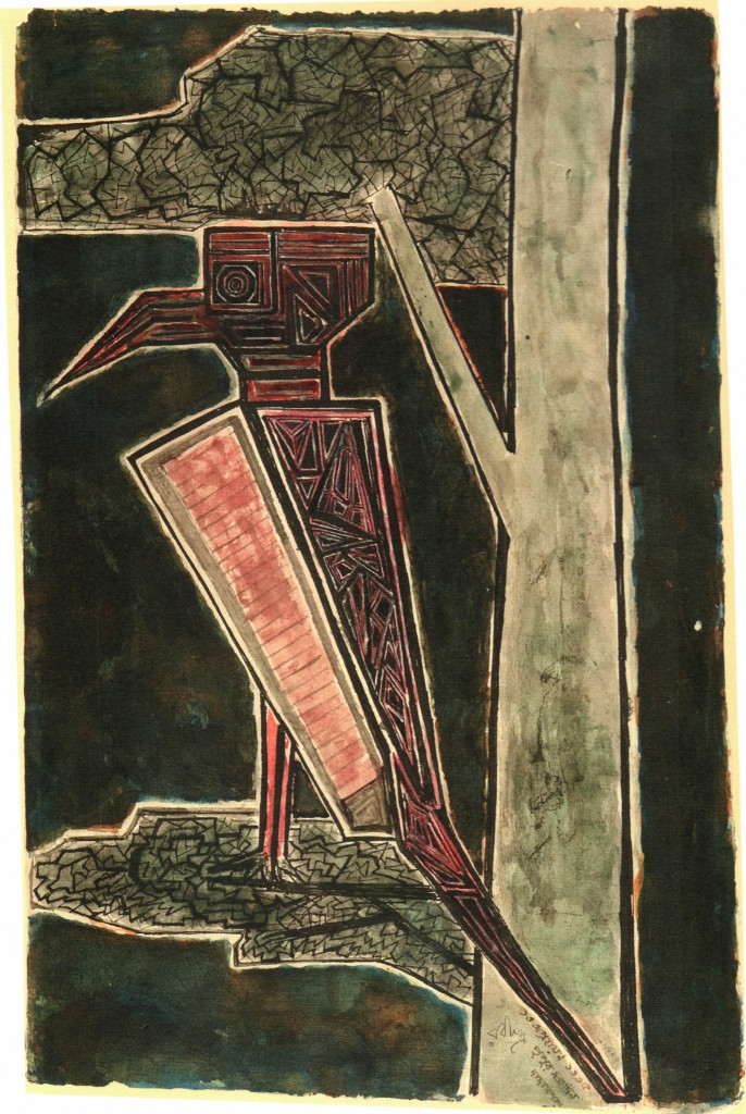 Plate 244, Coloured ink on paper 34.7 x 22.2 cm 29 Nov. 1928 Rabindra Rachnavali p.135